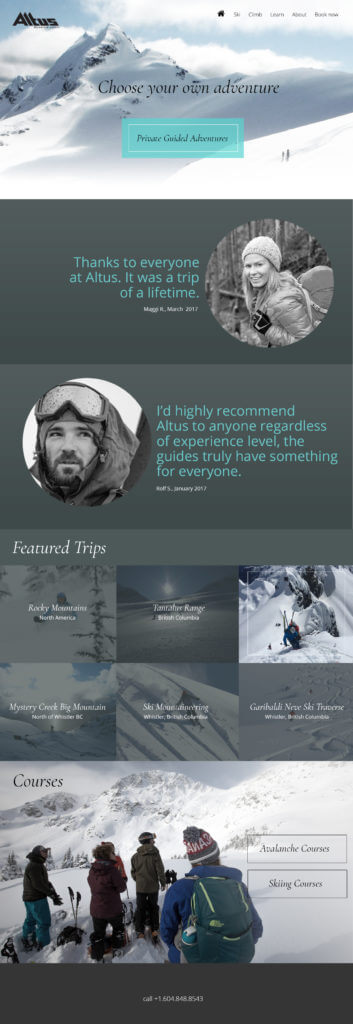 Webdesign for Mountainguides in Canada