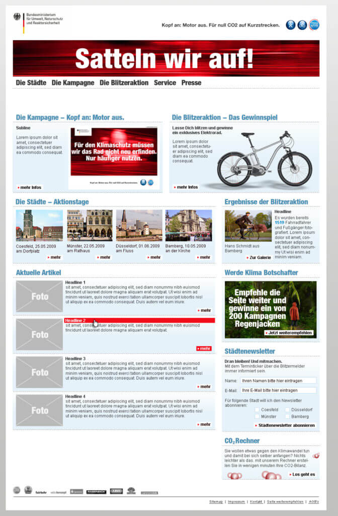 "Webdesign for a Campaing of the ""Bundesministerium für Umwelt"""