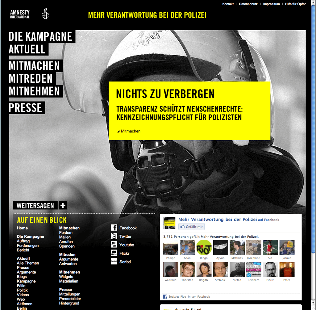 Webdesign for a Campaign of Amnesty International