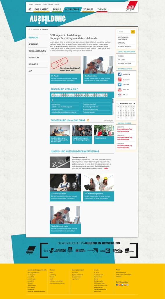 Portaldesign for DGB (german youth union)